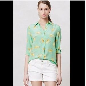 Anthropologie liefsdottir seaside bird silk blouse